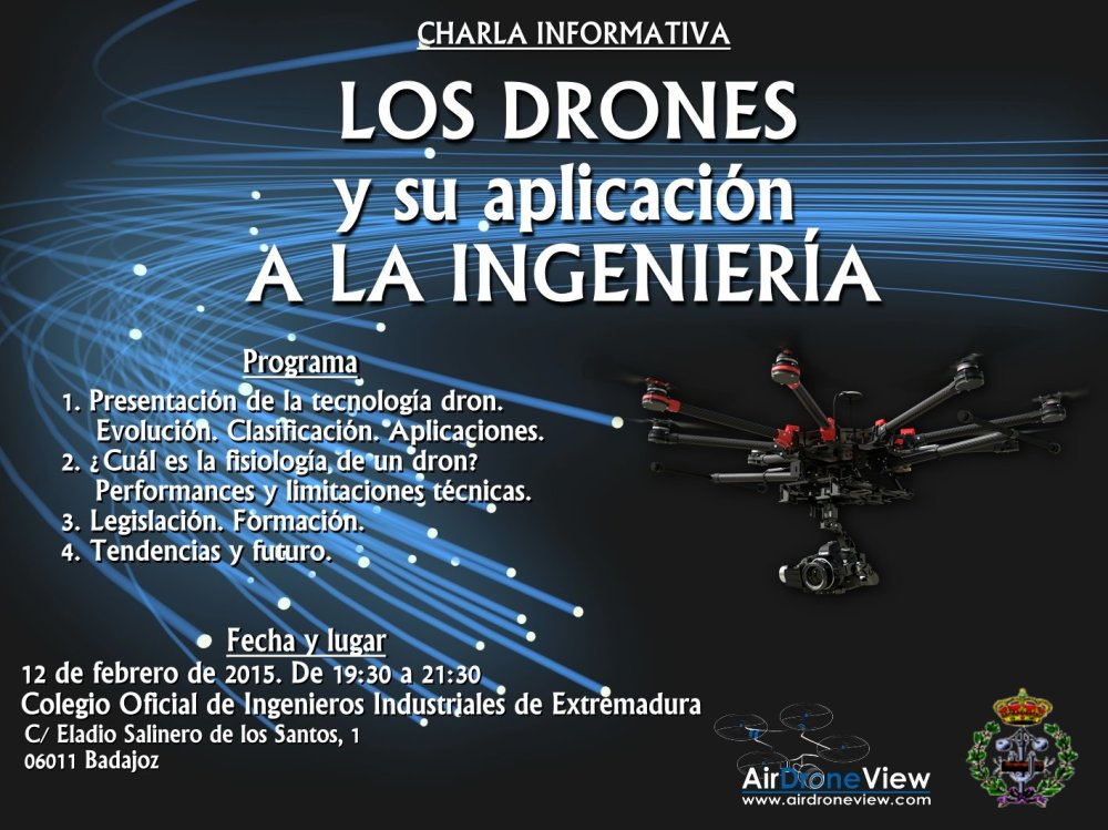 Charla Air Drone View COIIEX Badajoz drones rpas www.airdroneview.com curso formacion extremadura uav conferencia legislacion aesa gobex piloto coloquio colegio de ingenieros