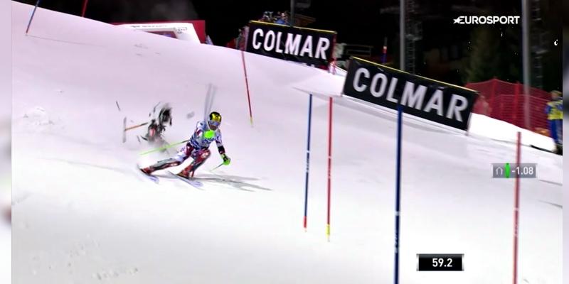 Un dron casi cae sobre el esquiador MarcelHirscher