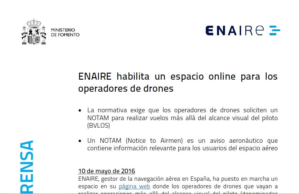 nota de prensa enaire drones notam bvlos air drone view badajoz operador operadora aesa rpas uavs caceres extremadura españa asesoria