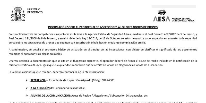 AESA comienza las inspecciones a operadores dedrones