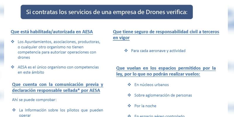 AESA publica las recomendaciones para contratar a una empresa dedrones
