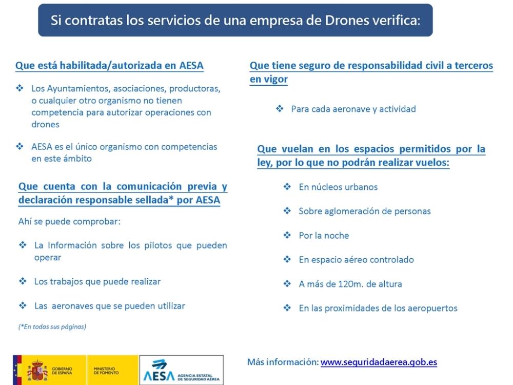 circular informativa aesa contratar servicios drones rpas españa ayuntamiento requisitos informacion air drone view www.airdroneview.com vuelo ciudad nocturno noche seguro operador 2