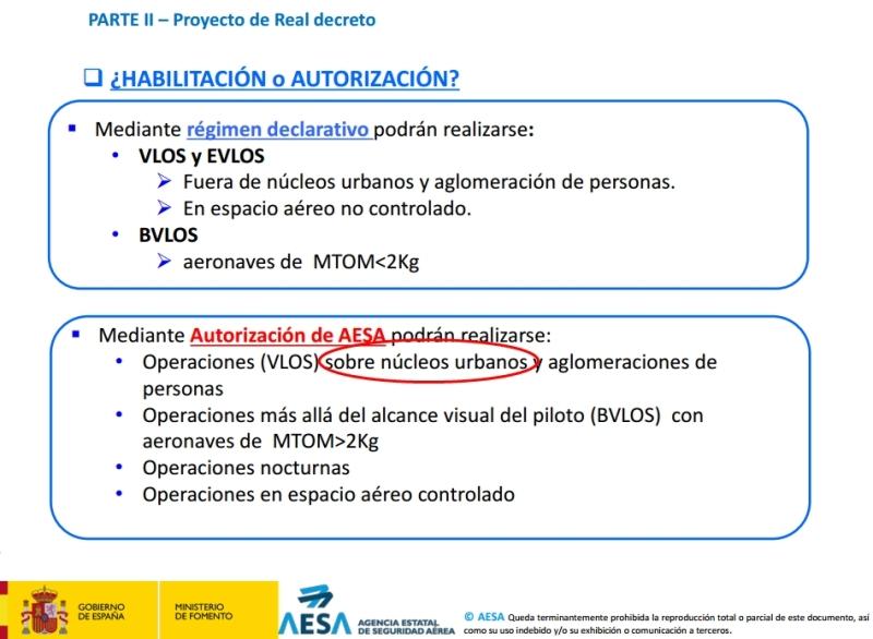 AESA publica presentaciones sobre la nueva legislación de drones enEspaña