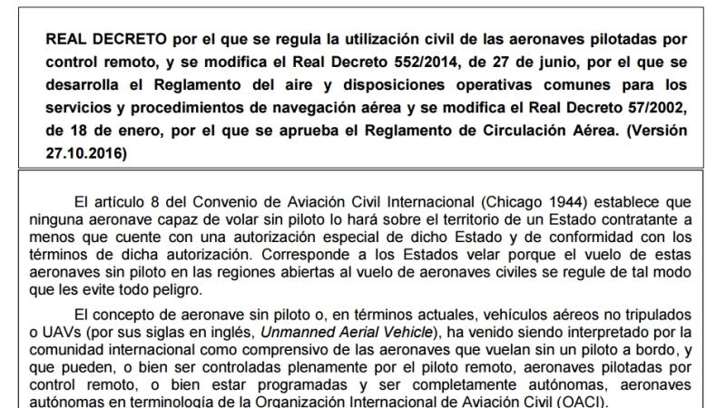 Información pública sobre el Proyecto de Real Decreto que regulará el uso de RPAS enEspaña