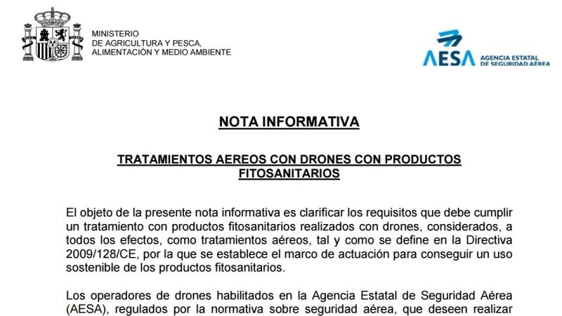 AESA publica una nota informativa sobre los tratamientos aéreos con fitosanitarios ydrones