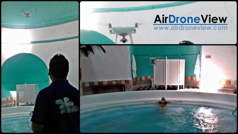 Drones volando en el interior de una terma romana en el Balneario de Alange para vídeoturístico