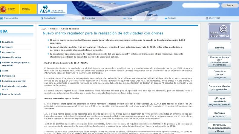 AESA publica en su web un pequeño resumen de los cambios que traerá el nuevo Real Decreto deRPAS