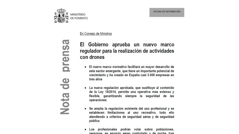 Nota de Prensa del Ministerio de Fomento: El Gobierno aprueba un nuevo marco regulador para la realización de las actividades condrones