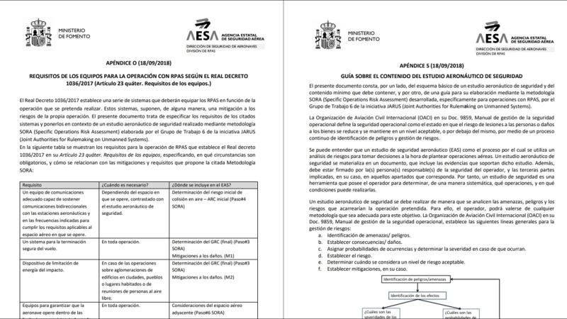 AESA publica hoy los apéndices O yS