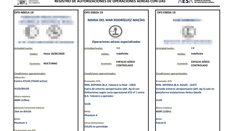 AESA publica el listado de operadores con autorización de operaciones aéreas conUAS