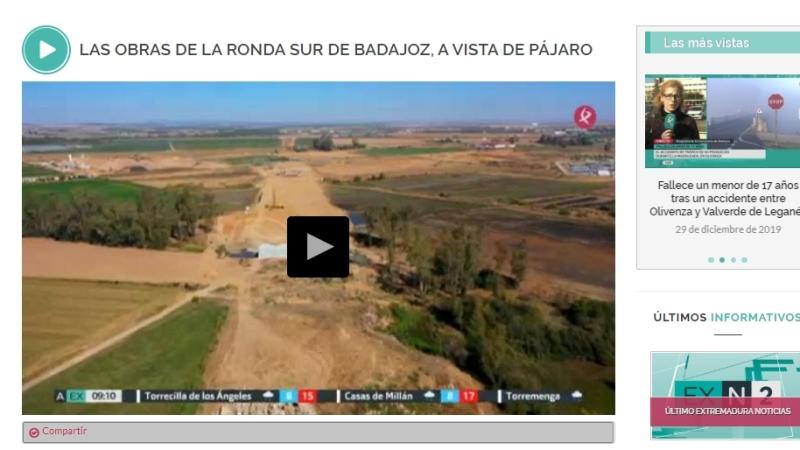 Noticia de Canal Extremadura: La Ronda Sur de Badajoz, a vista depájaro