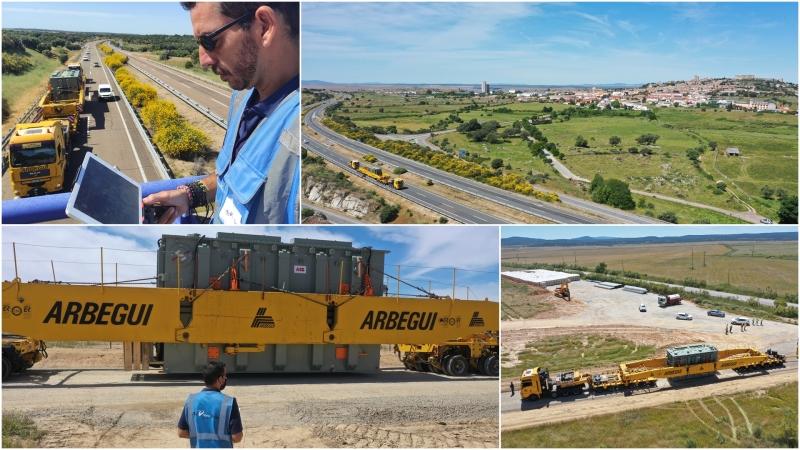 Grabando el transporte del TRAFO de la planta solar más grande deEuropa