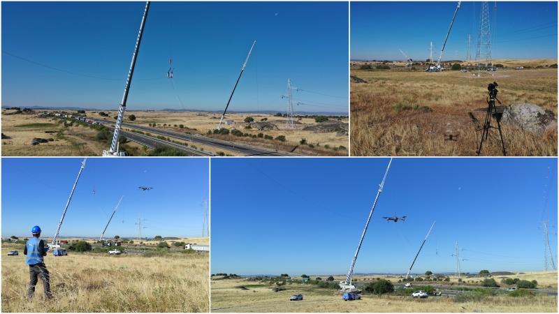 Grabando el montaje de una línea aérea de alta tensión a través deautovía